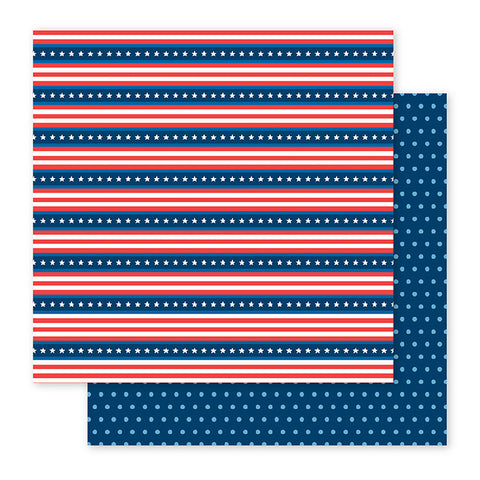 Pebbles Papers - America the Beautiful - Stars & Stripes - 2 Sheets