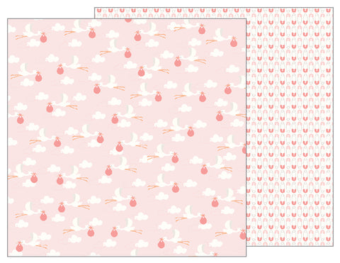 Pebbles Papers - Lullaby - Girl - Delivering Baby Girl - 2 Sheets
