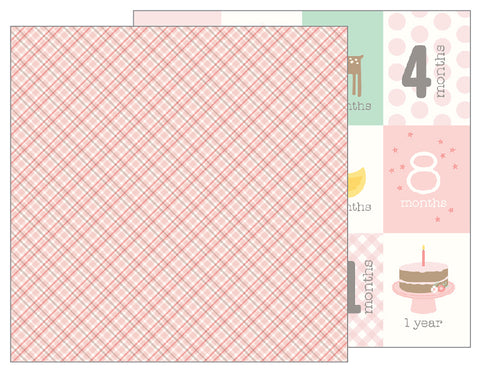 Pebbles Papers - Lullaby - Girl - Baby Girl Plaid - 2 Sheets