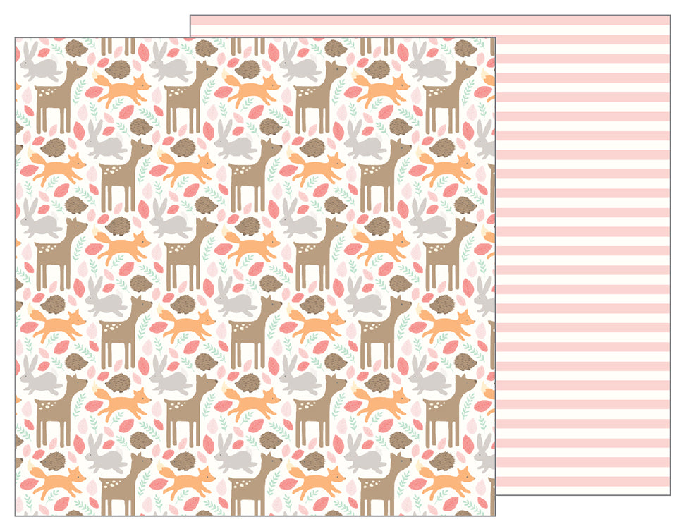 Pebbles Papers - Lullaby - Girl - Woodland Baby Girl - 2 Sheets