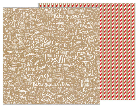 Pebbles Papers - Merry Merry - Candy Cane Stripes - 2 Sheets