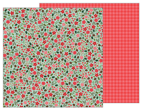 Pebbles Papers - Merry Merry - Christmas Floral - 2 Sheets