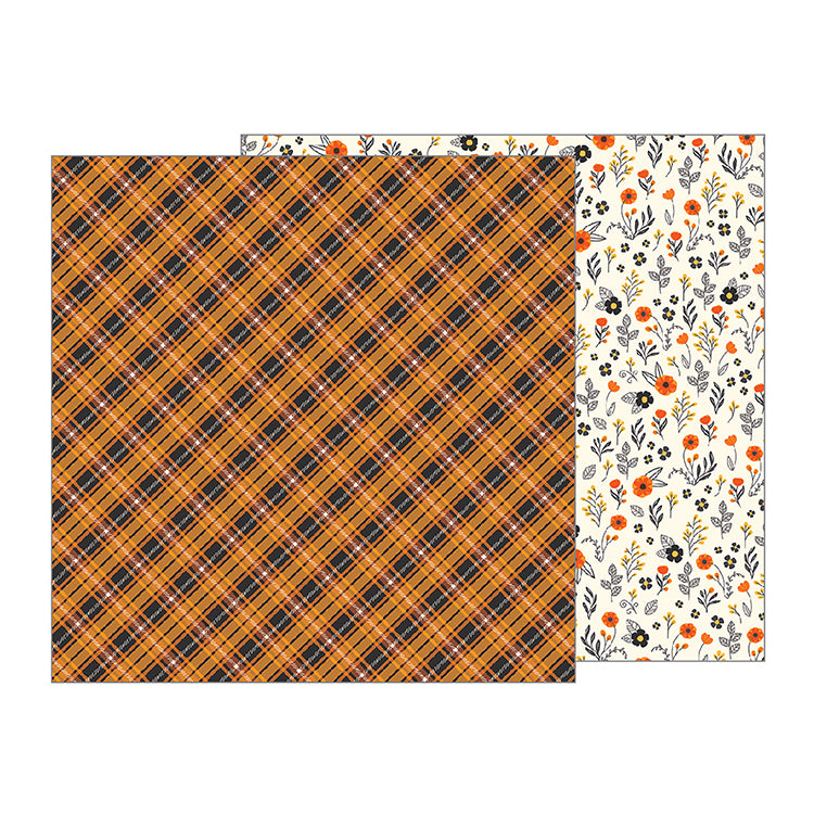 Pebbles Papers - Midnight Haunting - Autumn Plaid - 2 Sheets