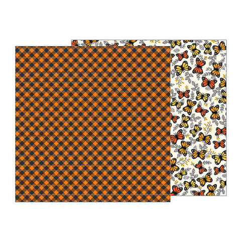 Pebbles Papers - Midnight Haunting - Pumpkin Plaid - 2 Sheets