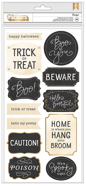 American Crafts Thickers - Bootiful - Chipboard Phrases