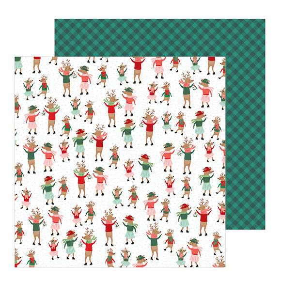 Pebbles Papers - Merry Little Christmas - Dancing Reindeer - 2 Sheets