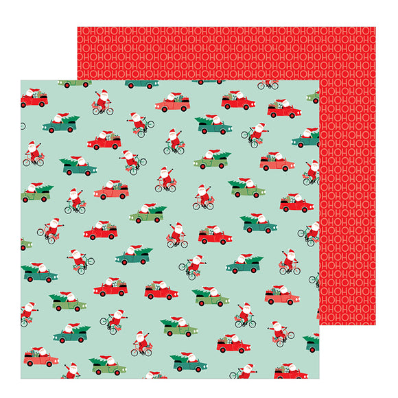 Pebbles Papers - Merry Little Christmas - Santa On the Go - 2 Sheets