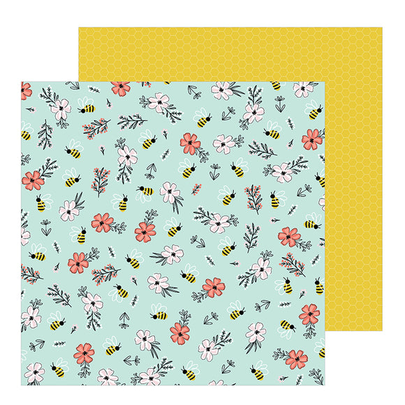 Pebbles Papers - Jen Hadfield - Hey Hello - Bee Blossoms - 2 Sheets