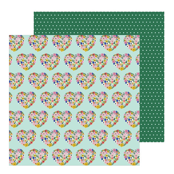 Pebbles Papers - Jen Hadfield - Hey Hello - Floral Hearts - 2 Sheets