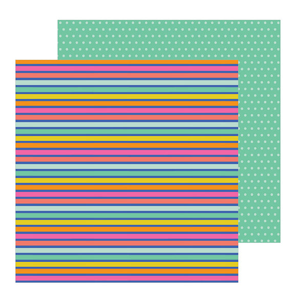 Pebbles Papers - Live Life Happy - Rainbow Stripes - 2 Sheets