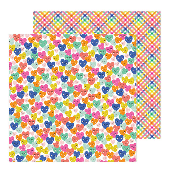 Pebbles Papers - Live Life Happy - Smiling Hearts - 2 Sheets