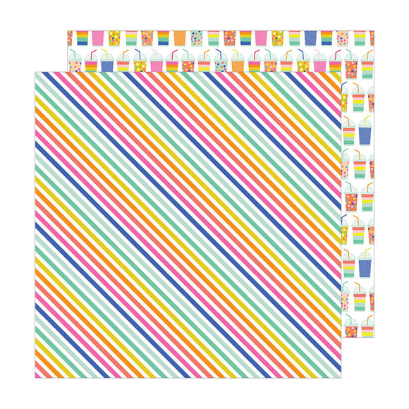 Pebbles Papers - Live Life Happy - Rad Stripes - 2 Sheets