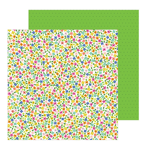 Pebbles Papers - Live Life Happy - Rainbow Blossoms - 2 Sheets