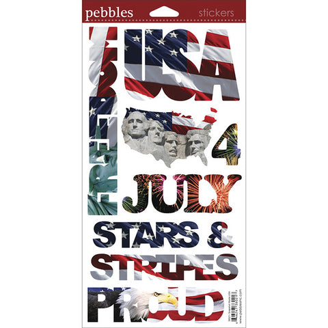 Pebbles Cardstock Stickers - USA Snapshots Words