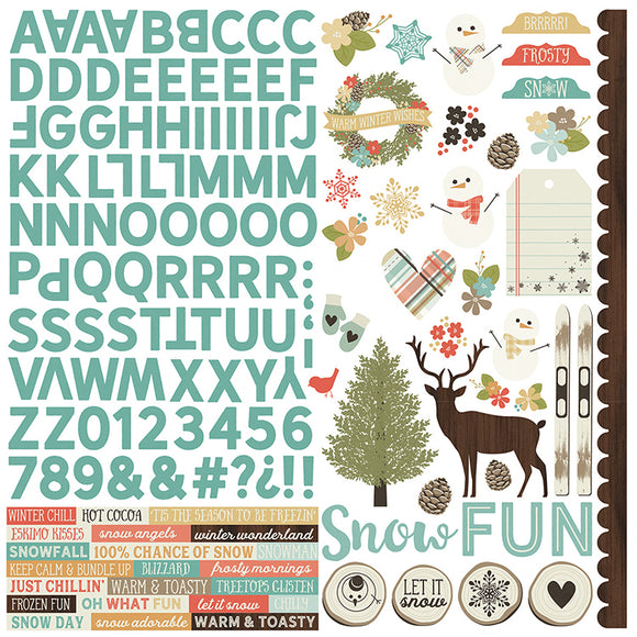 Simple Stories 12x12 Cardstock Stickers - Winter Wonderland - Combo