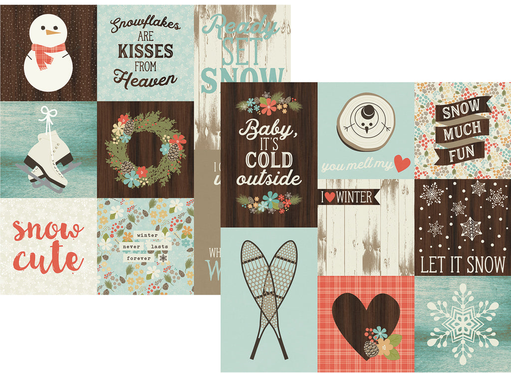 Simple Stories Papers - Winter Wonderland - 4x4 & 4x6 Vertical Elements - 2 Sheets