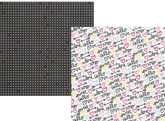 Simple Stories Papers - Love & Adore - P.S. I Love You - 2 Sheets
