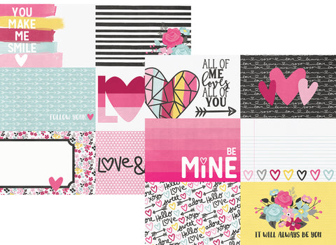 Simple Stories Papers - Love & Adore - 4x6 Horizontal Elements - 2 Sheets