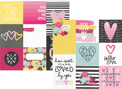 Simple Stories Papers - Love & Adore - 4x4,4x6 Vertical Elements - 2 Sheets