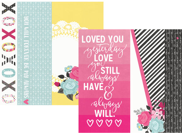 Simple Stories Papers - Love & Adore - 2x12,4x12,6x12 Elements - 2 Sheets