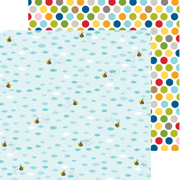 Bella Blvd 12x12 Pattern Papers - Tiny Tots - Busy Bee - 2 Sheets