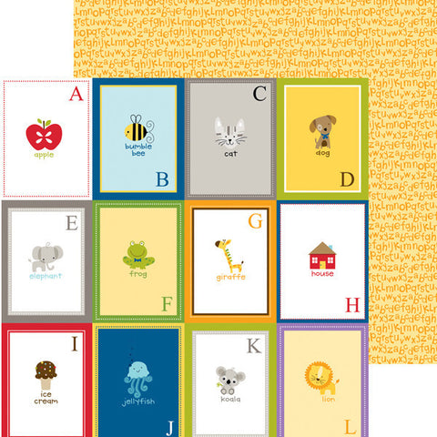 Bella Blvd 12x12 Pattern Papers - Tiny Tots - Flashcards A-L - 2 Sheets