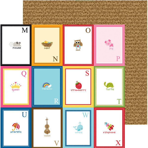 Bella Blvd 12x12 Pattern Papers - Tiny Tots - Flashcards M-X- 2 Sheets