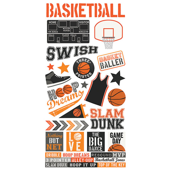 Simple Stories Cardstock Stickers - Basketball