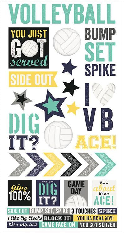 Simple Stories Cardstock Stickers - Volleyball