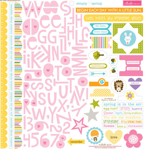 Bella Blvd 12x12 Cardstock Stickers - Simply Spring - Treasures & Text