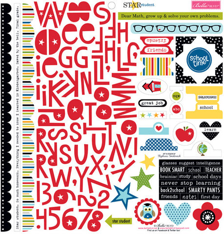 Bella Blvd 12x12 Cardstock Stickers - Star Student - Treasures & Text