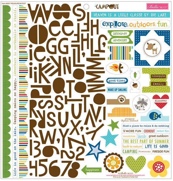 Bella Blvd 12x12 Cardstock Stickers - Treasures & Texts - Campout
