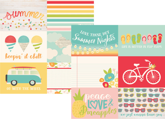 Simple Stories Papers - Summer Days - 4x6 Horizontal Elements - 2 Sheets