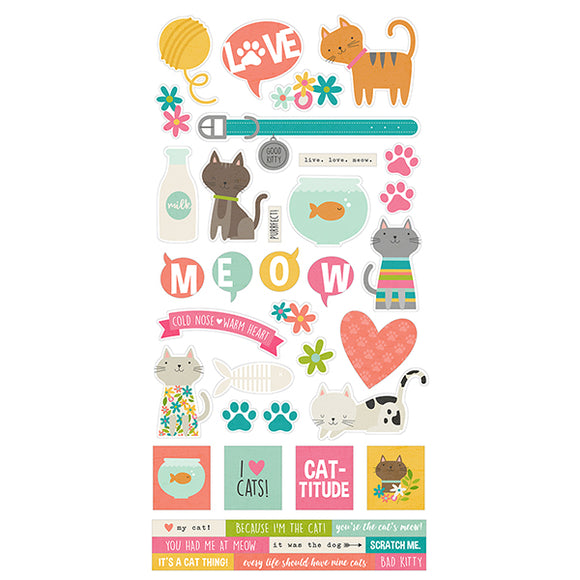 Simple Stories Cardstock Stickers - Life Is Purrfect