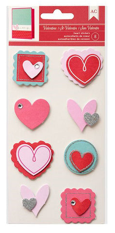 American Crafts 3D Stickers - Valentine Layered Hearts
