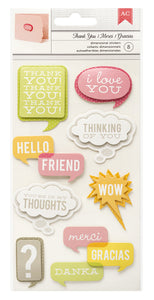 American Crafts 3D Stickers - Remarks - Thank You and More