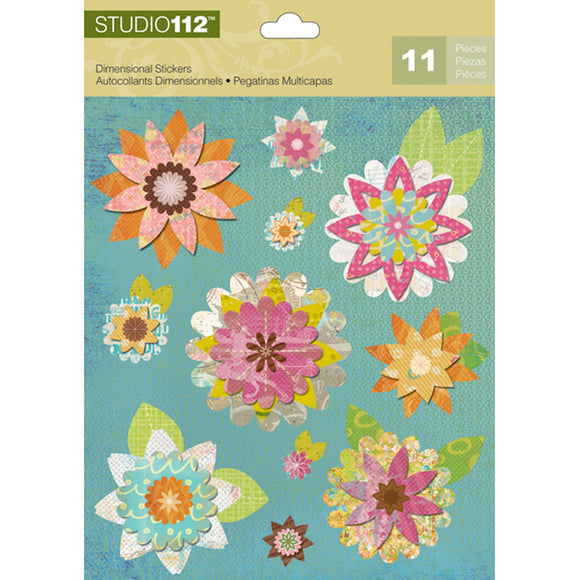 K&Company Studio 112 Dimensional Stickers - Geo Bright Floral