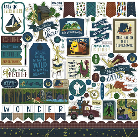 Echo Park 12x12 Cardstock Stickers - Adventure Awaits - Elements