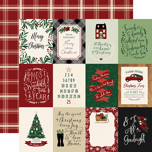 Echo Park Cut-Outs - A Cozy Christmas - 3x4 Journaling Cards