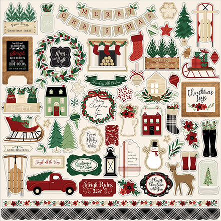 Echo Park 12x12 Cardstock Stickers - A Cozy Christmas - Elements