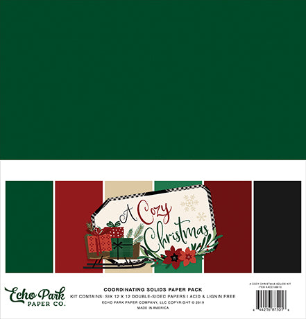 Echo Park Solids Paper Pack - A Cozy Christmas - Solid Paper Pack
