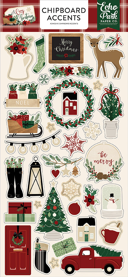 Echo Park Chipboard - A Cozy Christmas - Accents