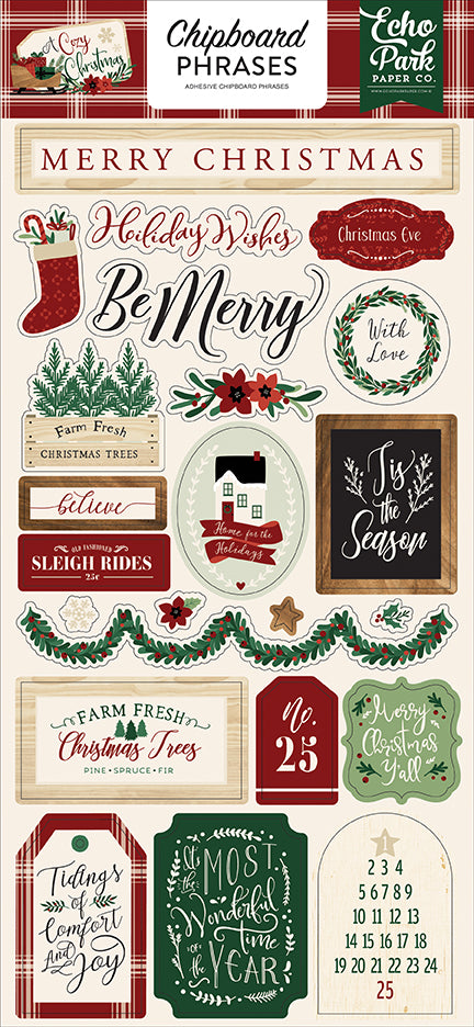 Echo Park Chipboard - A Cozy Christmas - Phrases