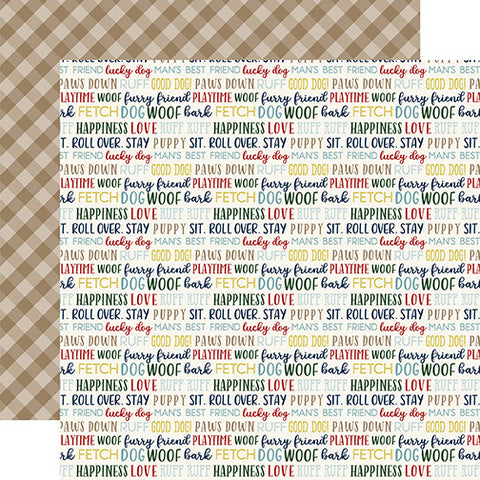 Echo Park Papers - A Dog's Tail - Woof Words - 2 Sheets