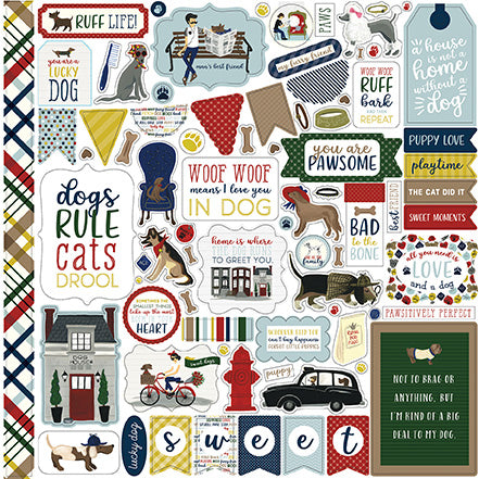 Echo Park 12x12 Cardstock Stickers - A Dog's Tail - Elements