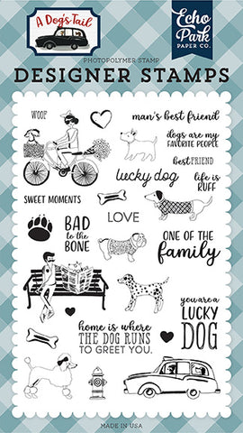 Echo Park Clear Stamp Set - A Dog's Tail - Lucky Dog
