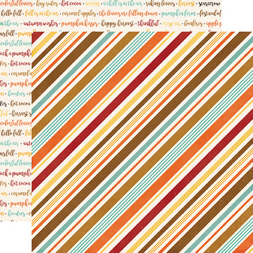 Echo Park Papers - A Perfect Autumn - Seasonal Stripe - 2 Sheets