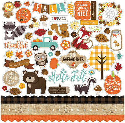 Echo Park 12x12 Cardstock Stickers - A Perfect Autumn - Elements