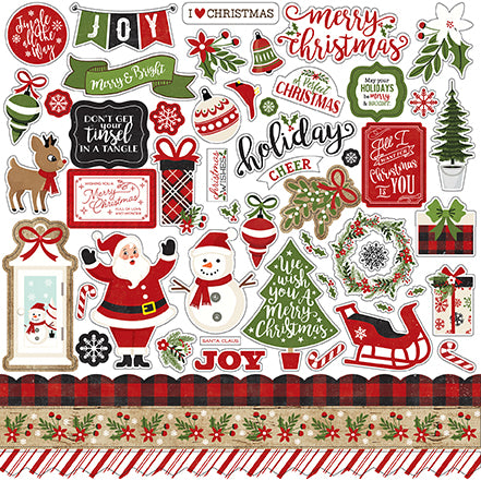 Echo Park 12x12 Cardstock Stickers - A Perfect Christmas - Elements