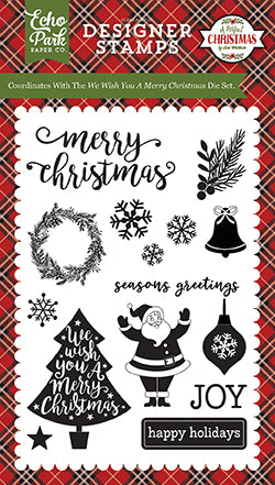 Echo Park Clear Stamp Set - A Perfect Christmas - We Wish You a Merry Christmas
